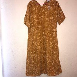 Polka Dot Empire Waist Dress in Mustard